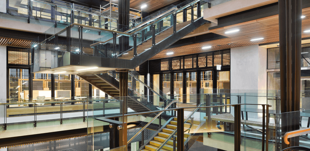 Glass Staircase At GCI Building Queensland University - Structural Fire Protection - Permax