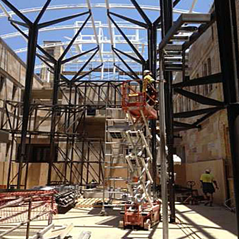Workers Working On The Steel Structures At Queensland University - Fire Protection of Steel - Permax